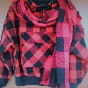 Lumberjack plaid pullover jacket & scarf, Sz, S/M